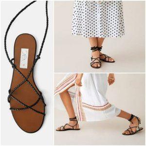 Zara Black Flat Strappy Ankle Wrap Sandal 6 - NWOT